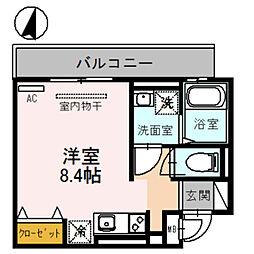 アビタシオン 栄 2階ワンルームの間取り
