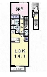 ジャン&T 2階1LDKの間取り