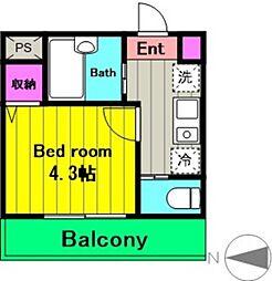 JR南武線 中野島駅 徒歩9分の賃貸アパート 1階1Kの間取り