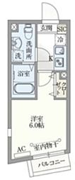 PASEO目黒II 4階1Kの間取り