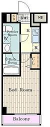 JR南武線 立川駅 徒歩9分の賃貸マンション 8階1Kの間取り
