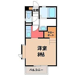 栃木県宇都宮市中今泉1丁目の賃貸アパートの間取り