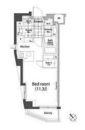 パークハビオ中目黒 2階ワンルームの間取り