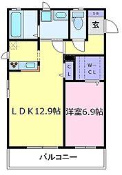 シャーメゾン北野田[2階]の間取り