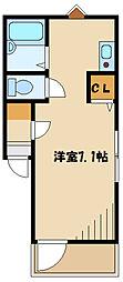 メルディア西生田I 1階ワンルームの間取り