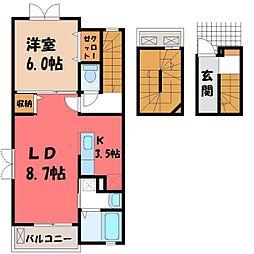 栃木県真岡市荒町3丁目の賃貸アパートの間取り