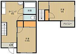 西武池袋線 武蔵藤沢駅 徒歩16分の賃貸一戸建て 2DKの間取り