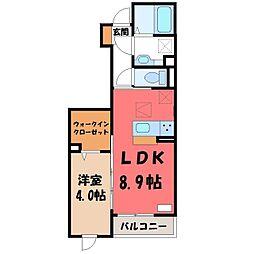 フェリオ 1階1LDKの間取り