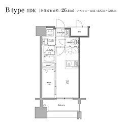 JR鹿児島本線 博多駅 徒歩12分の賃貸マンション 9階1LDKの間取り