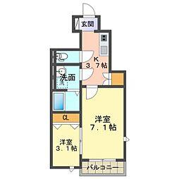 愛知環状鉄道 六名駅 徒歩15分の賃貸アパート 1階1SKの間取り