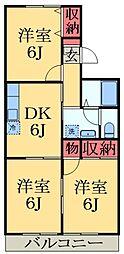 千葉県市原市東国分寺台2丁目の賃貸アパートの間取り