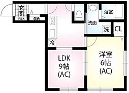 JR横浜線 町田駅 徒歩14分の賃貸アパート 1階1LDKの間取り