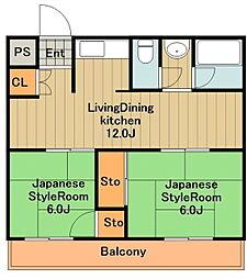 神奈川県相模原市中央区田名の賃貸マンションの間取り
