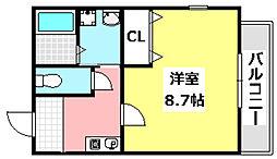 JR東海道・山陽本線 茨木駅 徒歩15分の賃貸マンション 3階1Kの間取り