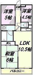 東京都八王子市大和田町3丁目の賃貸マンションの間取り