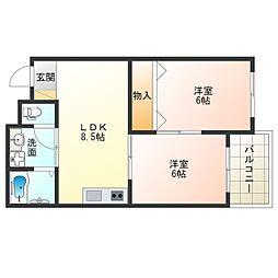 阪神なんば線 九条駅 徒歩4分の賃貸マンション 4階2LDKの間取り