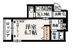 (仮称)豪徳寺1丁目メゾン 3階1Kの間取り