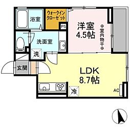 京王線 長沼駅 徒歩18分の賃貸アパート 3階1LDKの間取り