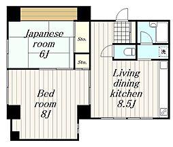 神奈川県大和市大和東3丁目の賃貸マンションの間取り