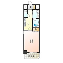 JR阪和線 津久野駅 徒歩7分の賃貸マンション 2階1Kの間取り