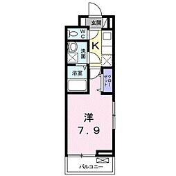 名鉄豊田線 浄水駅 徒歩13分の賃貸アパート 3階1Kの間取り