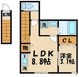 京王線 飛田給駅 徒歩6分の賃貸アパート 2階1LDKの間取り