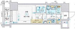 エステムプラザ TOKYO RISE 4階1Kの間取り