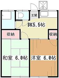 竹内荘[1階]の間取り