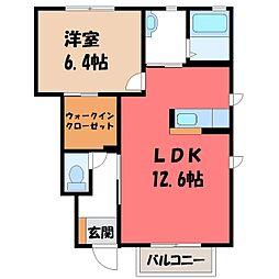 栃木県宇都宮市インターパーク1の賃貸アパートの間取り