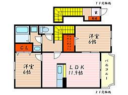 滋賀県彦根市極楽寺町の賃貸アパートの間取り