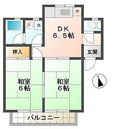 愛知県豊田市花園町観音山の賃貸アパートの間取り