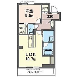 仮)セブンリリー 1階1LDKの間取り