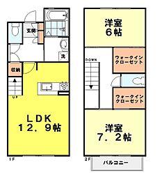 都営大江戸線 光が丘駅 徒歩20分の賃貸テラスハウス 2LDKの間取り