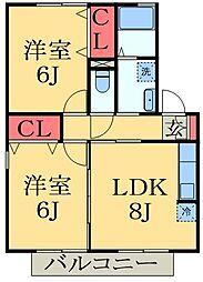 千葉県千葉市緑区おゆみ野中央1丁目の賃貸アパートの間取り