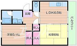 UR箕面粟生第3 12号棟[8階]の間取り