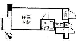 都営浅草線 東銀座駅 徒歩4分の賃貸マンション 7階ワンルームの間取り