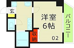 おおきに今福サニーアパートメント 10階1Kの間取り