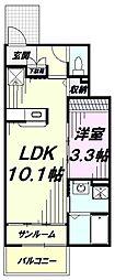 JR五日市線 秋川駅 徒歩19分の賃貸アパート 1階1LDKの間取り