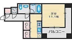 レジディア江坂 11階1Kの間取り