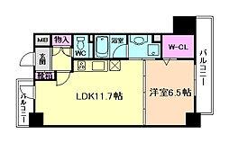 レジデンス西梅田[8階]の間取り