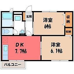 栃木県栃木市平柳町2丁目の賃貸アパートの間取り