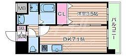 阪急京都本線 正雀駅 徒歩3分の賃貸マンション 9階1DKの間取り