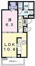 ピースフル ガーデン 1階1LDKの間取り