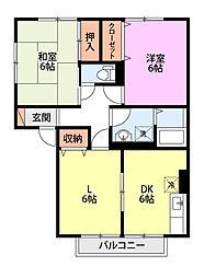 新潟県新潟市南区白根四ツ興野の賃貸アパートの間取り