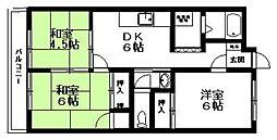 徳永ハイツ[303号室]の間取り