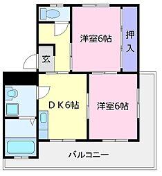 フェリオ大美野[4階]の間取り