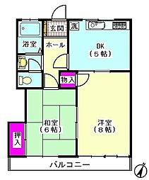 東京都世田谷区東玉川2丁目の賃貸アパートの間取り