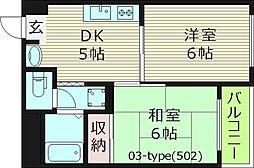 サウスアベニュー 4階2DKの間取り