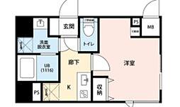 東急東横線 武蔵小杉駅 徒歩8分の賃貸マンション 2階1Kの間取り