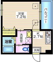 京急本線 横須賀中央駅 徒歩5分の賃貸マンション 2階1Kの間取り